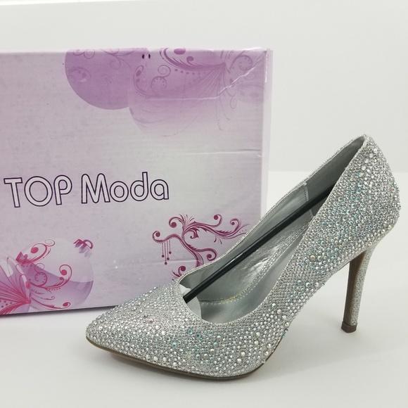 b82c80ee8f9 Top Moda Elegant Silver Gem Heel